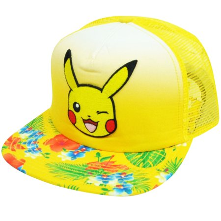 Nintendo Pokemon Pikachu Flowers Pattern Yellow Mesh Flat Bill Snapback Hat Cap](Pikachu Hat)