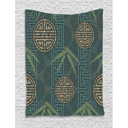 Bamboo Tapestry, Authentic Asian Style Composition with Oriental Motifs  Leaves Eastern Elements, Wall Hanging for Bedroom Living Room Dorm Decor,  Teal ...