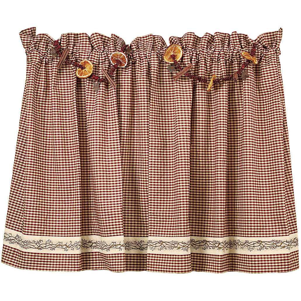 "Burgundy Berry Vine Wine Check Unlined Curtain Tiers, 24"" 30"" 36"" Lengths"