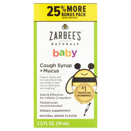 Zarbee's Naturals Baby Natural Grape Flavor Cough Syrup + Mucus, 2.5 fl