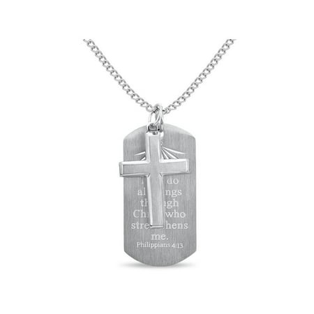 316L Stainless Steel 2-PC Cross Prayer Dog Tag Necklace 24 inches](Christian Dog Tag Necklaces)