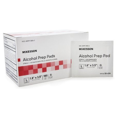 McKesson Alcohol Prep Pads - Item Number 58-404BX - 100 Each / Box