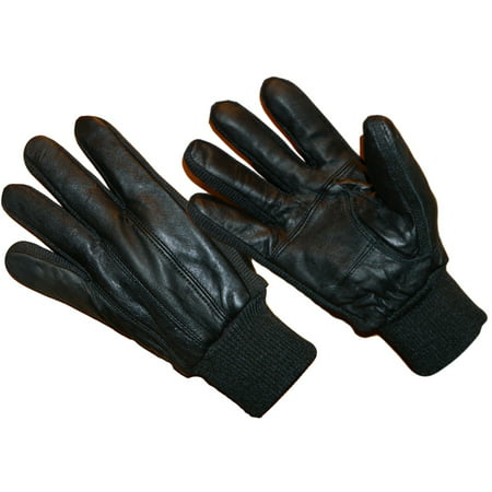 LD2311-OSFM, Genuine Sheepskin Leather Glove Fleece Lined with Knitwrist (One Size Fits Most)
