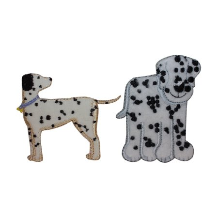 (ID 2837AB Set of 2 Fuzzy Dalmatian Patches Dog Puppy Fluffy Iron On Applique)