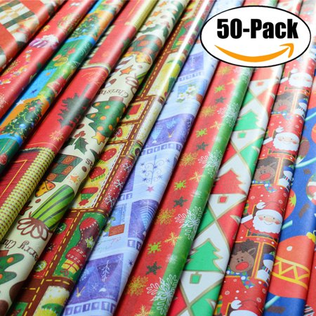 Outgeek 50Pcs Christmas Wrapping Paper Sets Christmas Patterns Gift Wrapping Paper for Kids Family Friends Christmas - Star Wars Wrapping Paper