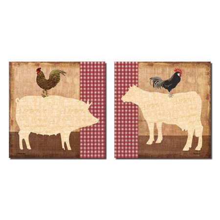 Fun, Retro Farm Animals; Pig, Cow and Rooster; Kitchen Decor; Two 12x12 Poster Prints](Animal Print Decor)