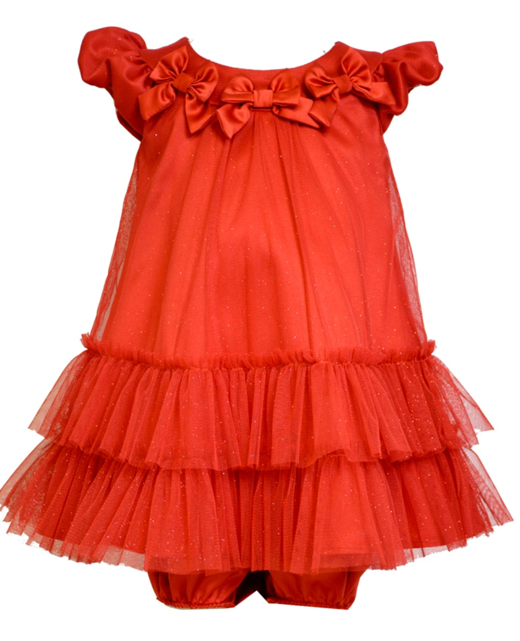 Bonnie Jean Baby Girls Red Mesh Bow Dress 24 months