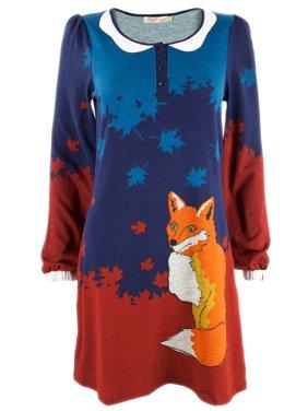 Fox in Leaves Women's Sweater Dress