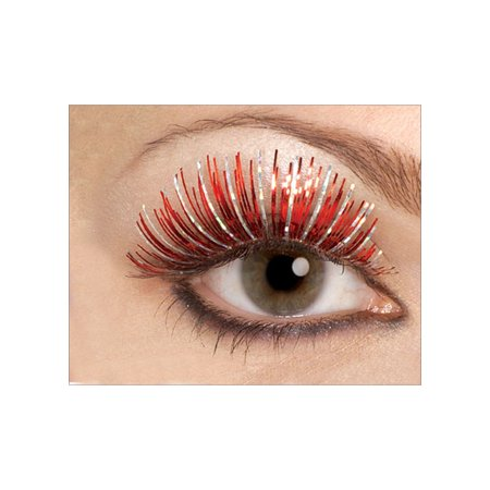 Large Red and Silver Hologram Eyelashes Rubies 1103