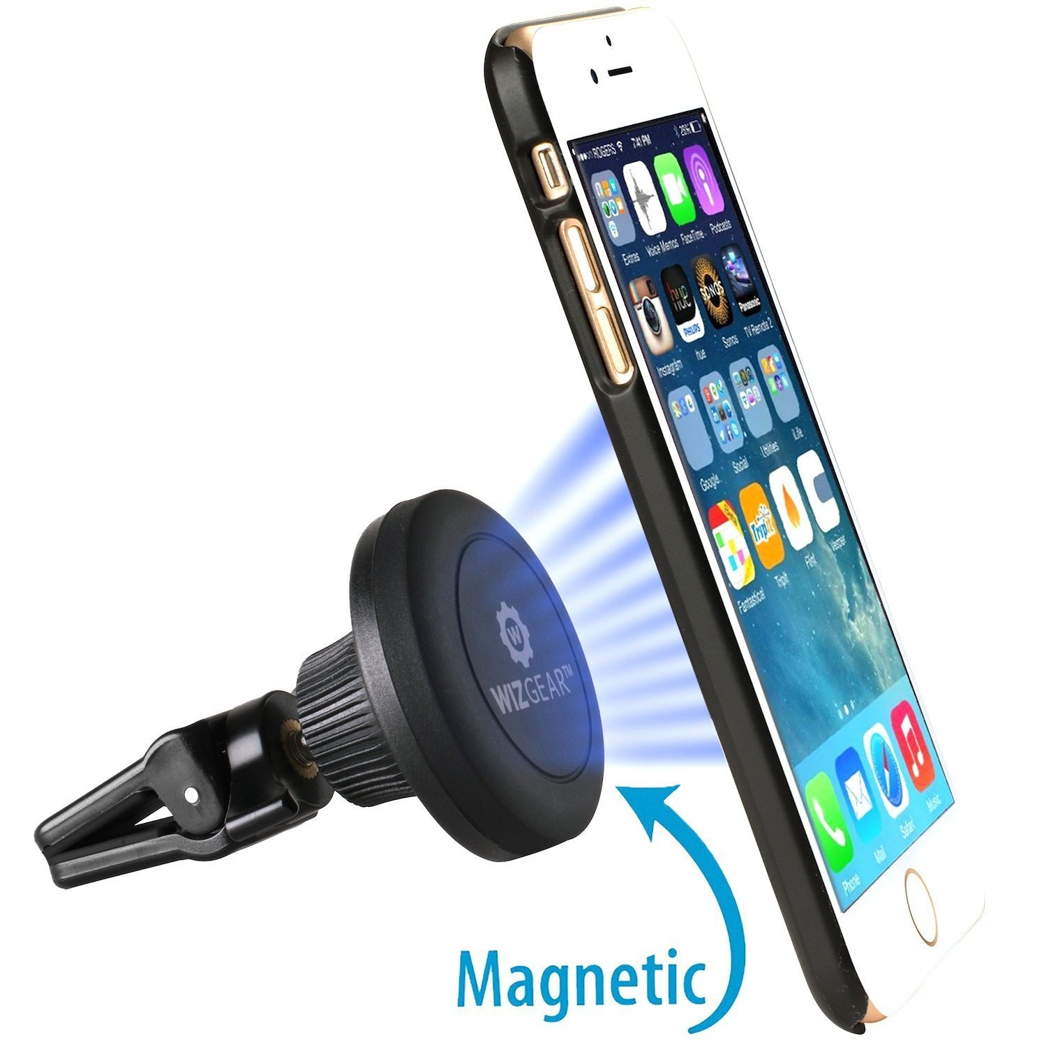 WizGear Universal Twist-Lock Air Vent Magnetic Car Mount Holder, for Cell Phones and Mini Tablets with Fast Swift-Snap Technology