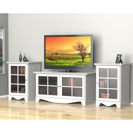 Pinnacle 49-Inch TV Stand with Two 1-Door Audio Towers-Finish:White