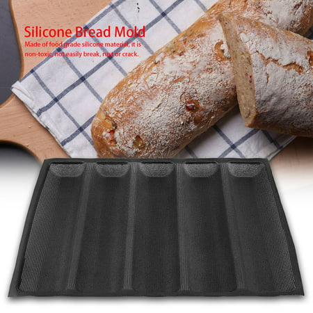 Yosoo Silicone Oblong Shape Bread Molds Baguette Pan French Bakeware Tray , Silicone Baguette Bakeware, Baguette Bakeware
