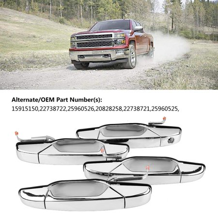 Zerone Door Handle for Chevy Pickup Truck, 20828258  ,Chrome Outer Exterior Door Handle Kit Set of 4 for Chevy Pickup Truck 15915150