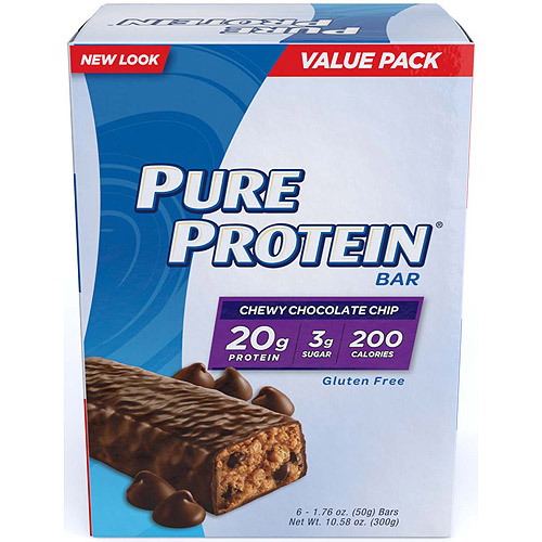 Pure Protein Chewy Chocolate Chip Protein Bar, 1.76 oz, 6 count