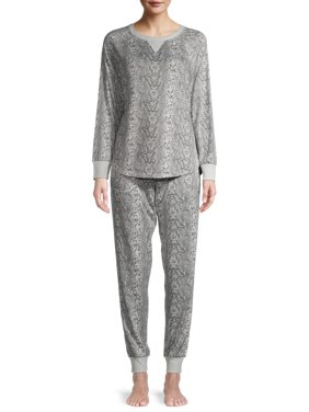 Secret Treasures Women's and Women's Plus Hacci Long Sleeve Top and Joggers, 2-Piece Pajama Set