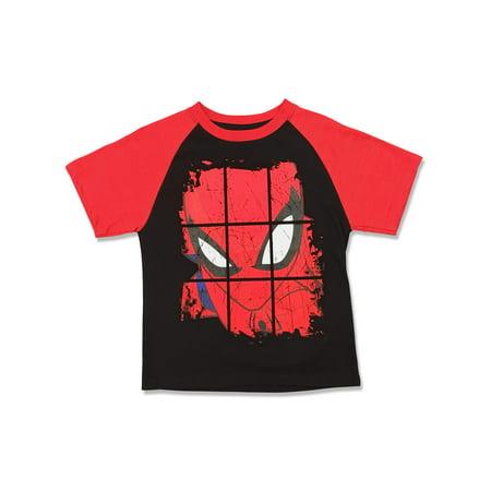 Spider-man Short Sleeve Raglan Tee Shirt (Little Boys)](Kids Spiderman Clothes)