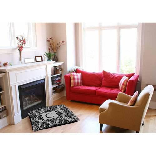 Thumbprintz Damask Monogram Black and Grey Indoor/Outdoor Pet Bed