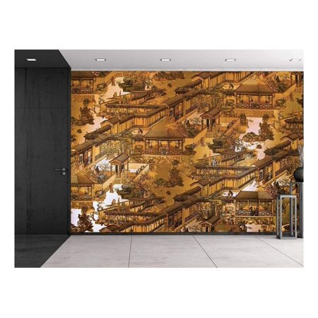 - wall26 Traditional Chinese Painting - Fresco Wall Tapestry - Ornate Detail - Asian Motif - Wall Mural, Removable Sticker, Home Decor - 66x96 inches