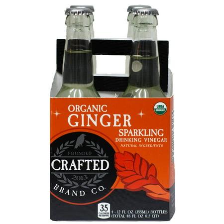 (4 Bottles) Crafted Brand Company Ginger Drinking Vinegar, 12 Fl