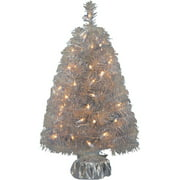 Holiday Time Pre-Lit 2' Noble Fir Artificial Christmas Tree, Silver, Clear Lights