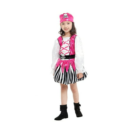 Girls'Pink Pirate Costume Set with Dress, Hat, Vest, Belt, M](Pirate Dress Costume)