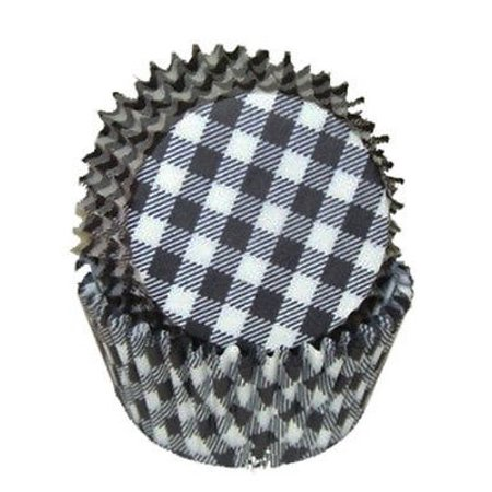 Black Gingham Cupcake Baking Liners Standard Size - 50 Count - National Cake -