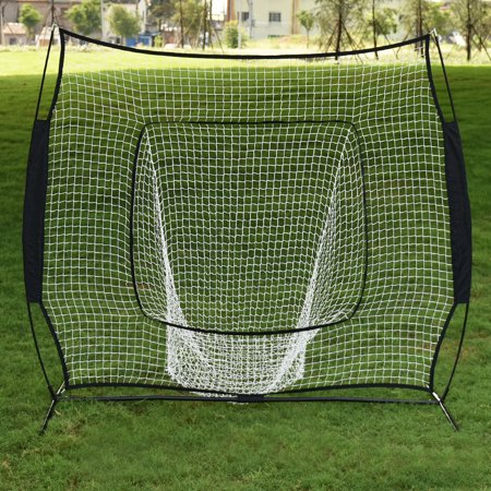 Zimtown 7'x 7' Baseball Pitching Net, Portable Softball Practice Net, with Free Carry Bag/Strike Zone Target/Ball Caddy, Backtop Screen Equipment Training Aids,for Outdoor Batting Hitting Throwing ()