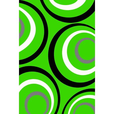Persian Rugs 1017 Lime Green Modern Abstract Area Rug 4x5