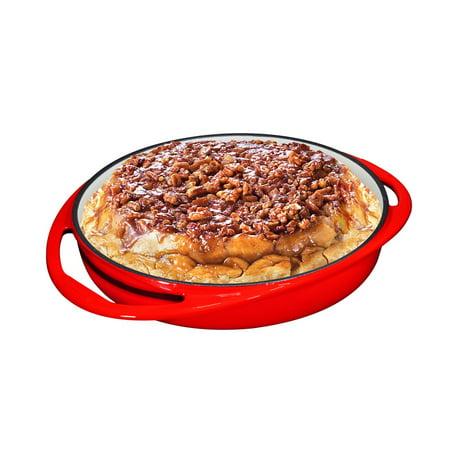Double Handled Enameled Red Cast Iron Round Tarte Tatin Dish Pan ()