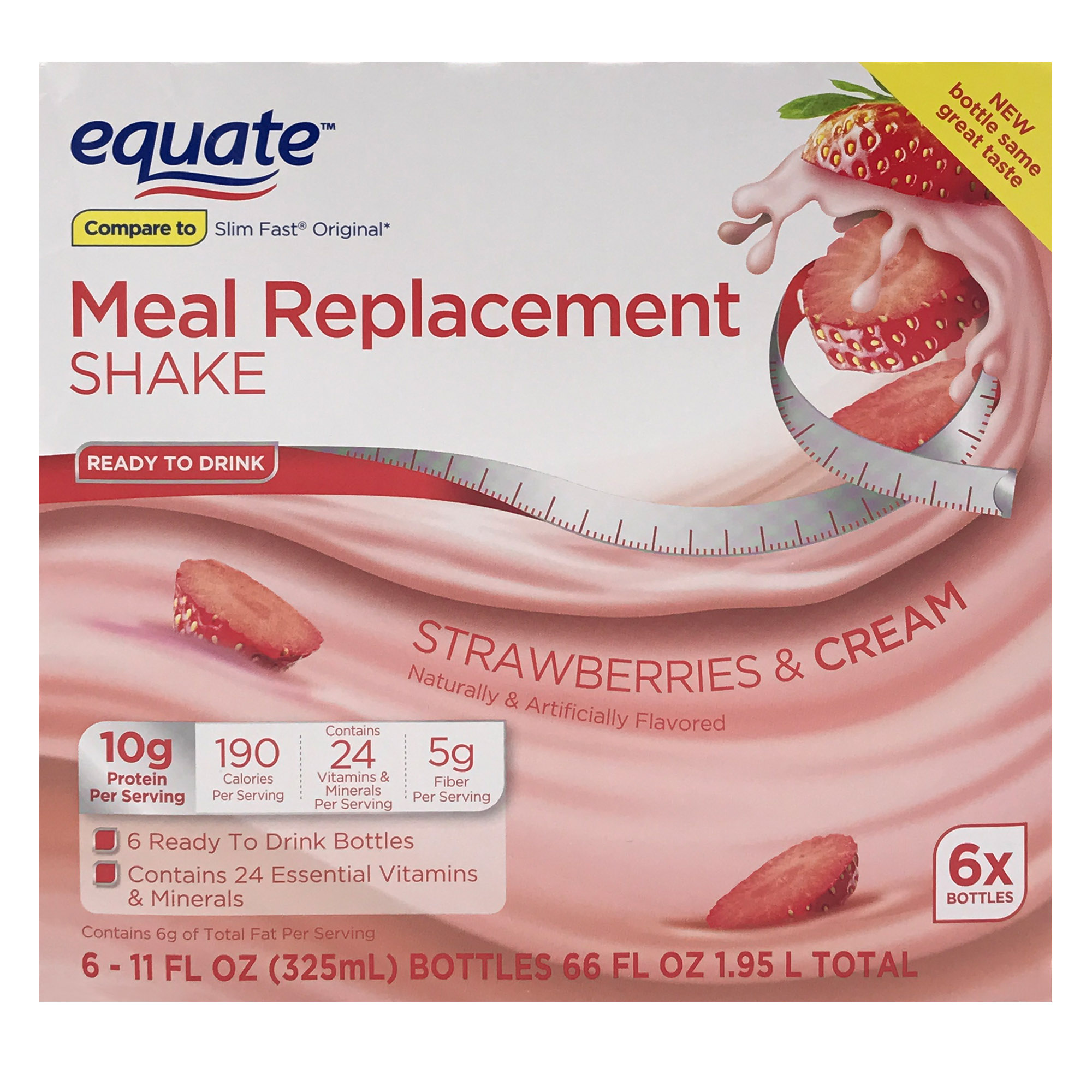 Equate Meal Replacement Shake, Strawberries & Cream, 66 fl oz