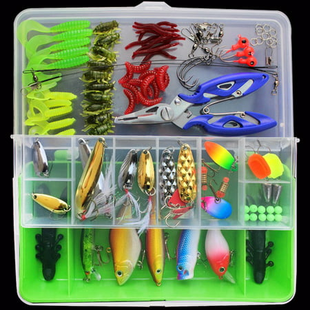 100Pcs Fishing Tackle Kit Hard Soft Bait Lure Fishhooks Tools Tackle Box Set for Saltwater & Freshwater Fishing (Best Bait For Rockfish)