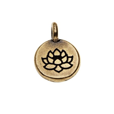 Round Flower Charm (Pewter, Round Lotus Flower Charm 16.5x11.5mm, 1 Piece, Brass Oxide Finish)