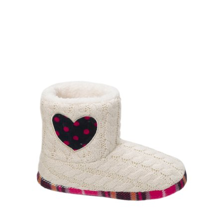 Dearfoams Girl's Sweater Knit Bootie w/Heart Slippers (Slipper Booties For Girls)