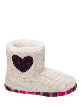 Dearfoams Girl's Sweater Knit Bootie w/Heart Slippers