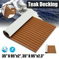 "1Pcs 35.4'' x 106.30"" Marine Boat Sheet Teak Decking Boat Flooring Mats Yacht Flooring EVA Foam Floor Sheet Self-Adhesive Mat,  5mm/6mm Thickness"
