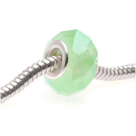 Faceted Glass European Style Large Hole Bead - Green Opal 14mm (1)