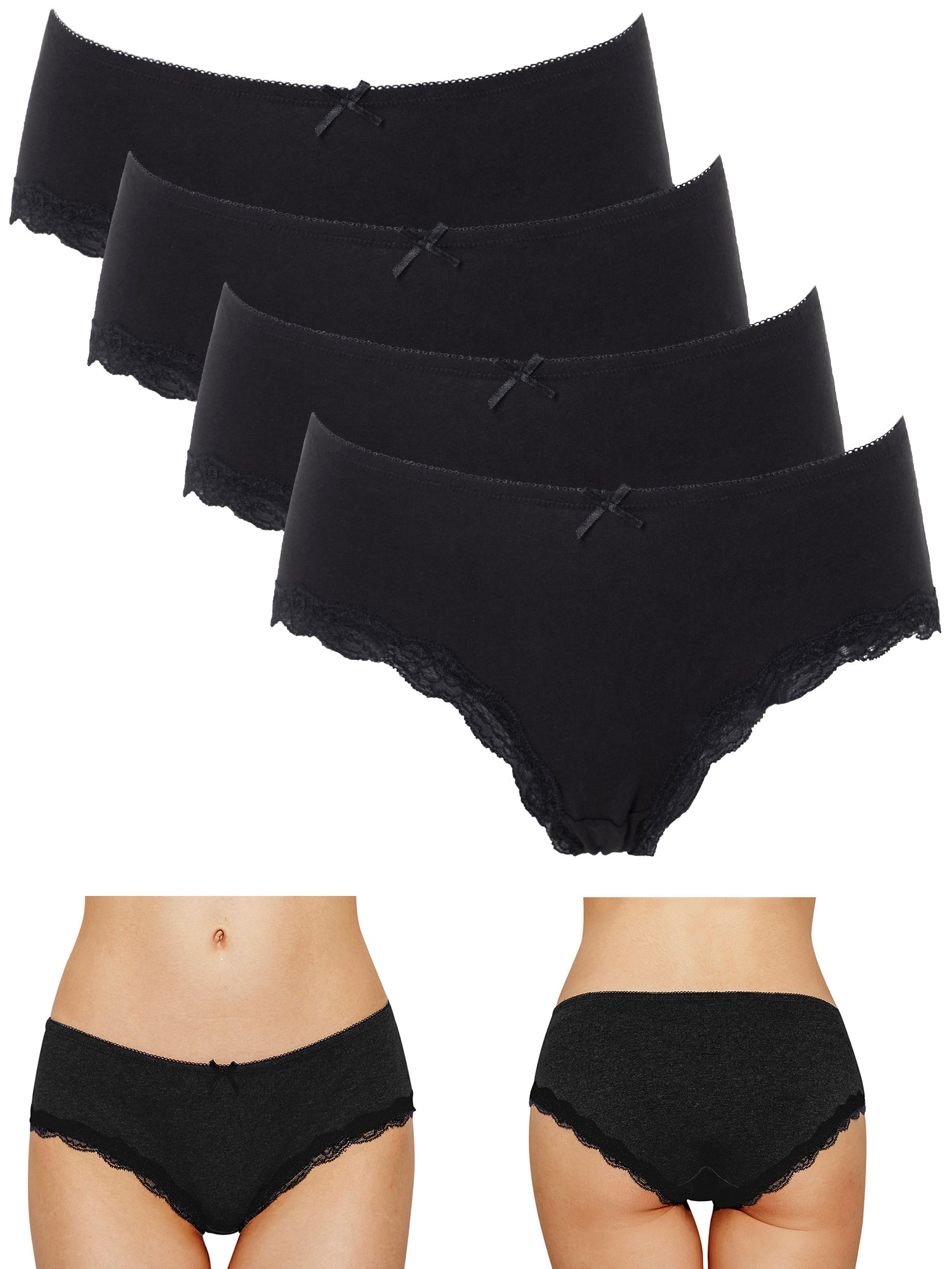 Alyce Intimates Pack of 8 Womens Cotton Boyshort Panty with Cute Button Fly Design