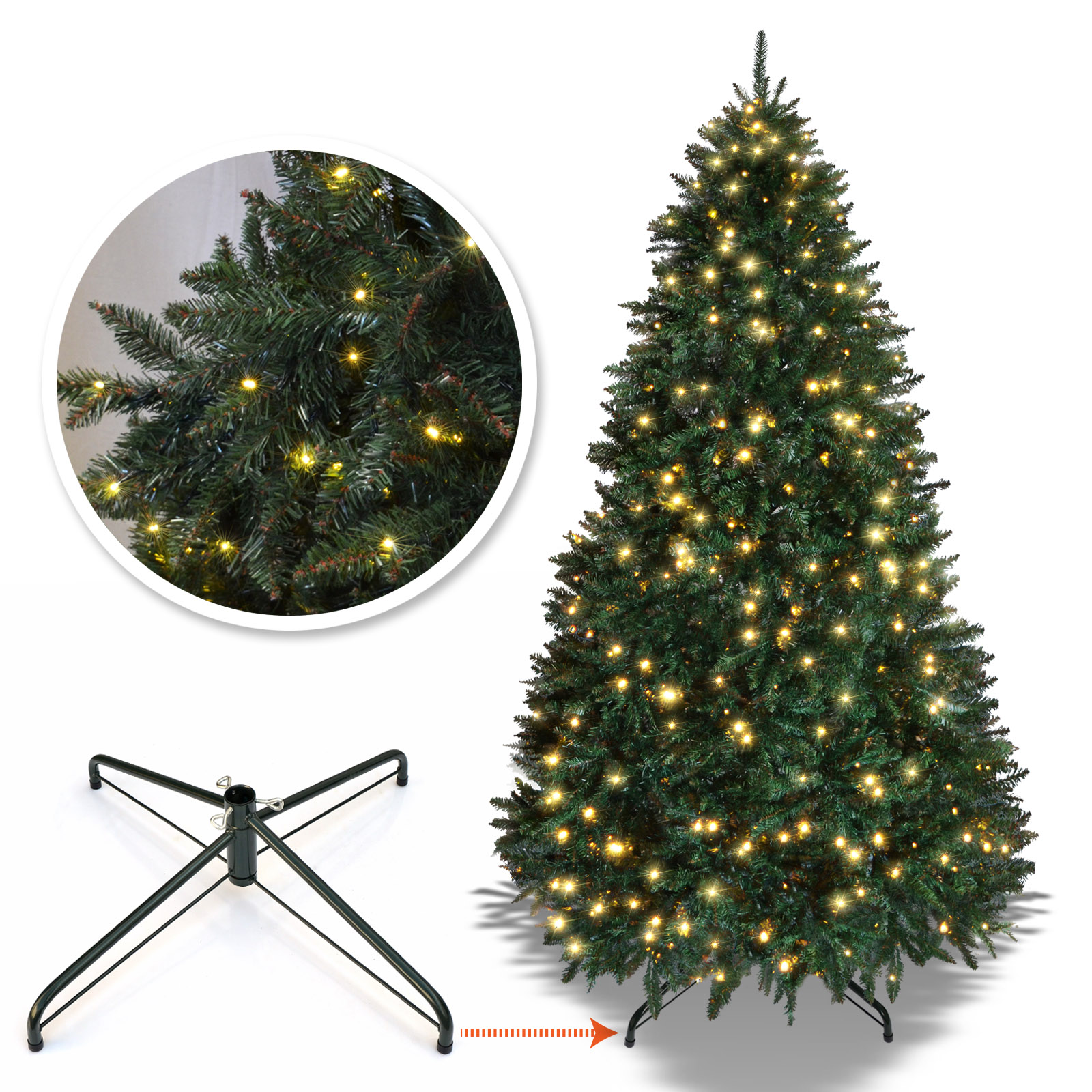Strong Camel 6.5 /7 /7.5 ft Artificial Christmas Tree with Metal Stand Full Tree Xmas Holiday (7' with 700 Clear Lights and 2154 tips)