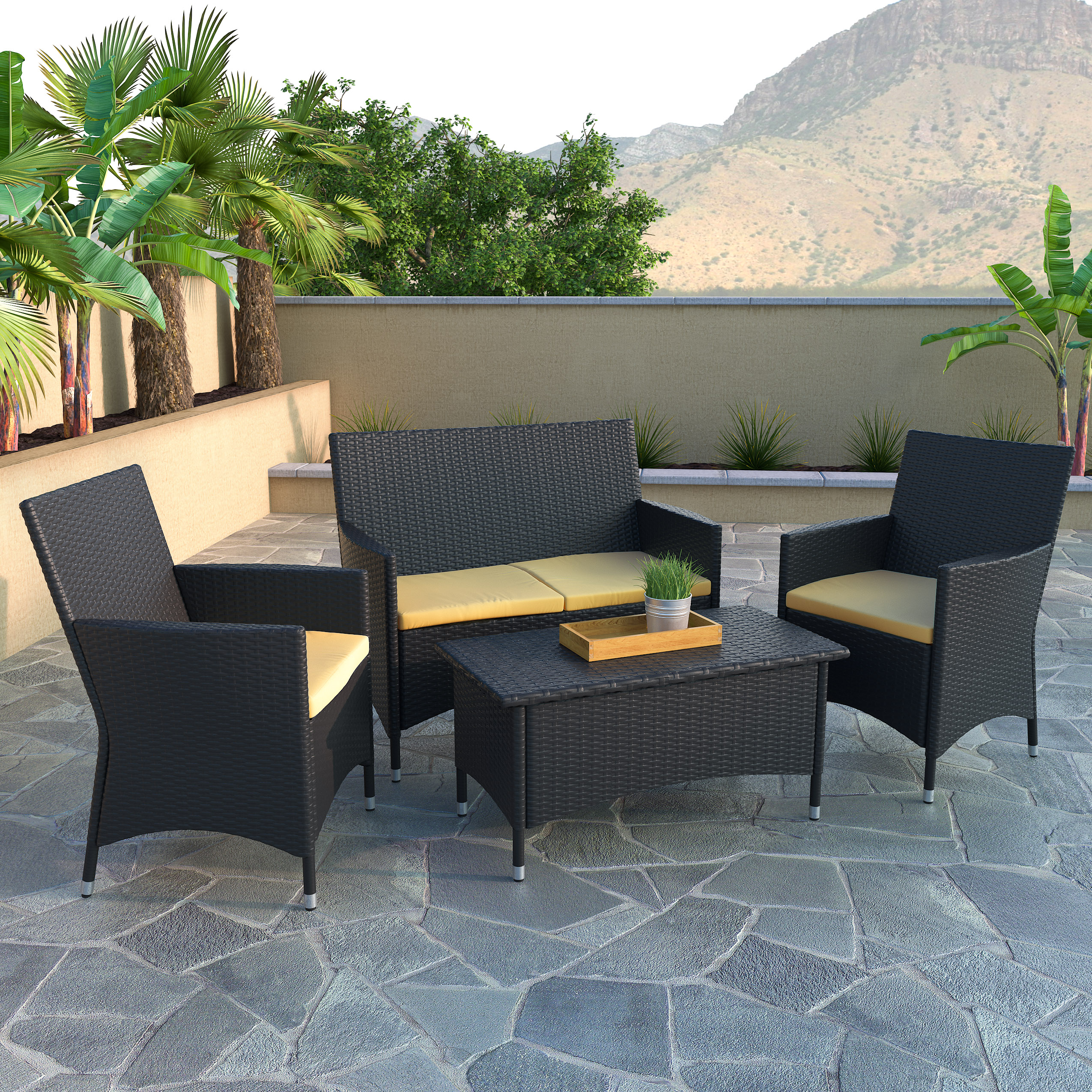 Beau CorLiving Cascade 4pc Black Rope Weave Patio Set, With Sunset Yellow  Cushions