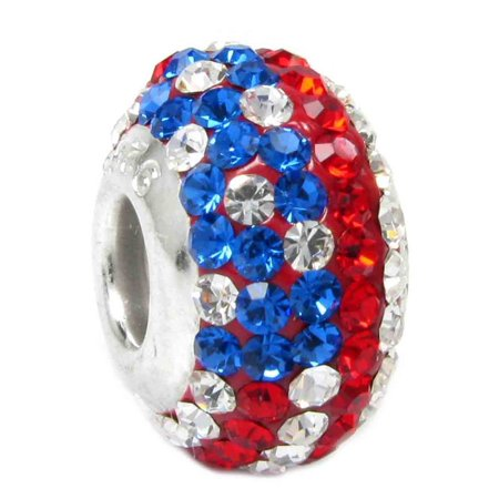 Queenberry Sterling Silver American Flag  Crystal European Bead Charm Fits Pandora