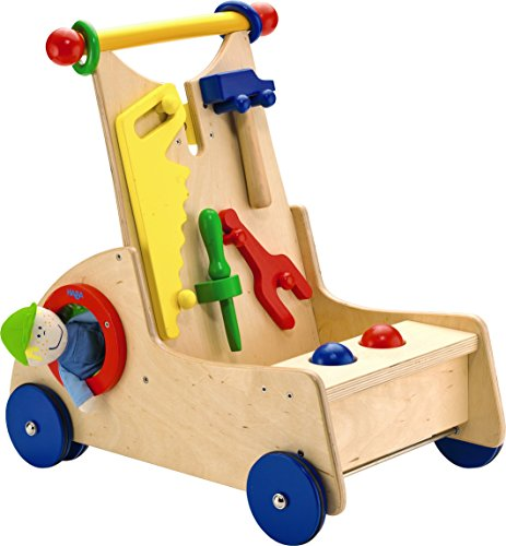 HABA Walk Along Tool Cart - Wooden Activity Push Toy for ...