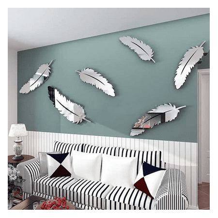 Outgeek 8PCS Mirror Decals Decorative Waterproof Feather Shape Mirror  Stickers Wall Decals Wall Art Decor for Home Bedroom Living Room TV  Background ...