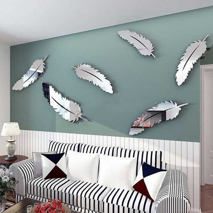 Outgeek 8PCS Mirror Decals Decorative Waterproof Feather Shape Mirror  Stickers Wall Decals Wall Art Decor For