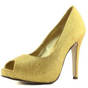 Top Moda Age-1 Gold Glitter Peep Toe Pumps Shoes, Gold, 6 B(M) US