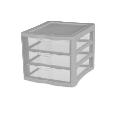 Sterilite 3 Drawer Unit Silver Tint
