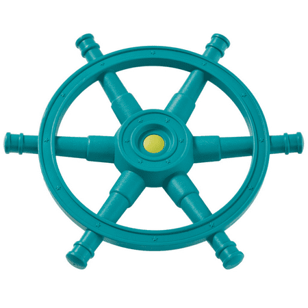 Blue Rabbit Play Mega Boat Steering Wheel for Outdoor Playsets, Turquoise/Lime Green
