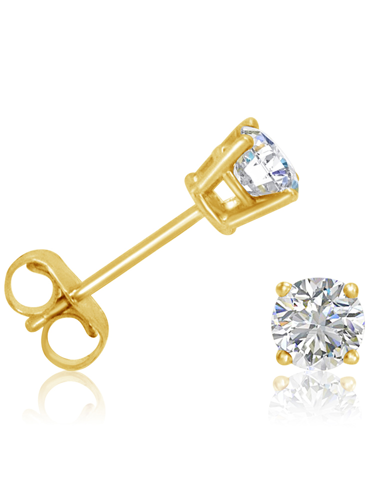Amanda Rose 1/2ct tw Round Diamond Solitaire Stud Earrings in 14K Yellow Gold