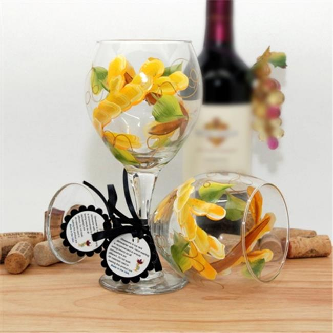 Judi Painted it WA-SBY Floral Wrap Around Painted Wine Glass, School Bus Yellow