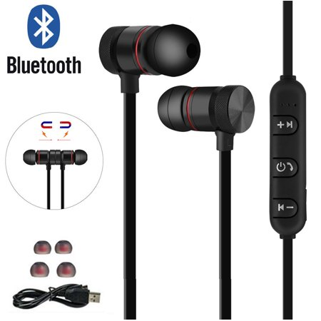 Magnetic Wireless Bluetooth V4.1 Headset Stereo Headphone Sport Earphone Earbud for iPhone Samsung LG