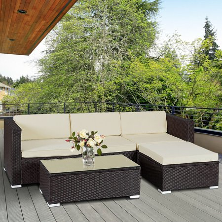 Costway 5 PCS Patio Furniture Set Rattan Wicker Table Shelf Garden Sofa W/ Cushion Brown ()